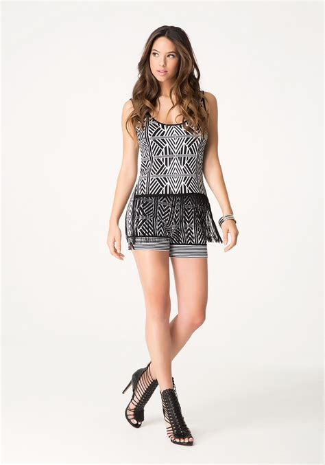 Black White Sweater Tribal lyst bebe tribal sweater shorts in black