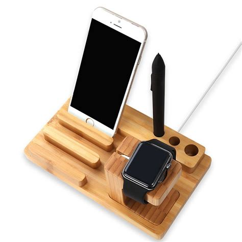 wood charging station wooden dock 3 in 1