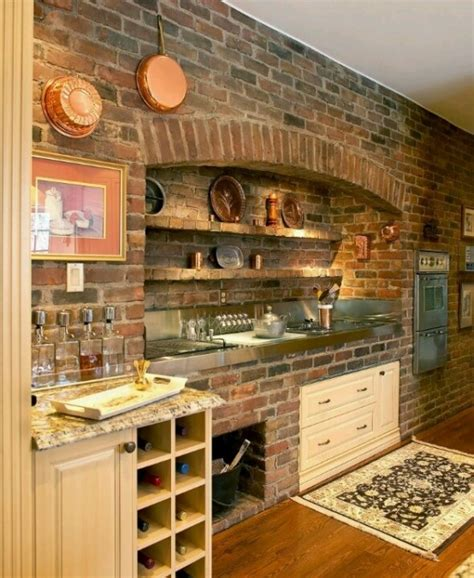 brick kitchen walls 74 stylish kitchens with brick walls and ceilings digsdigs