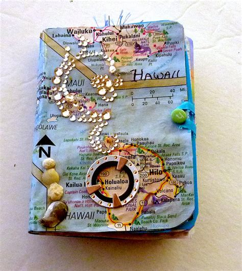 Handmade Travel Journal - travel journal hawaii handmade mixed media collage smash