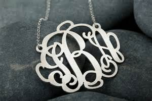 sterling silver monogram jewelry personalized sterling silver monogram necklace