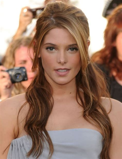 hairstyles with half bangs ashley greene long hairstyle half up half down with side