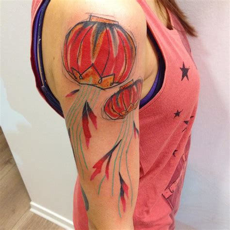red sky tattoo sky lanterns on shoulder best ideas