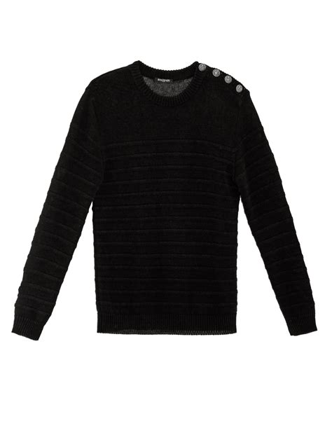 balmain button detail striped linen knit sweater in black for lyst