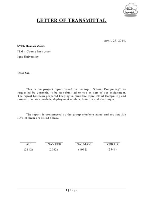 Letter Of Transmittal For Research Report