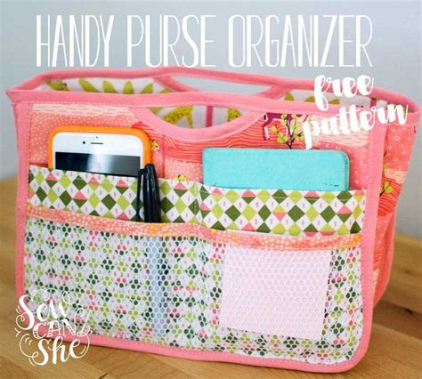 tote bag pattern with dividers handy purse organizer free sewing pattern sewing