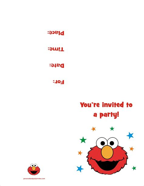 Elmo Free Printable Birthday Party Invitation Personalized Party Invites Elmo Birthday Invitations Template Free