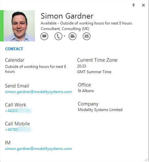 changing the lync 2013 or skype for business contact card