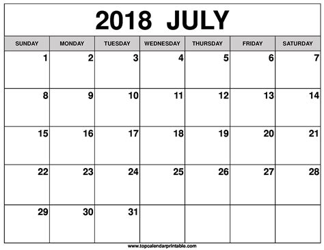 printable calendar july 2017 june 2018 july 2018 calendar