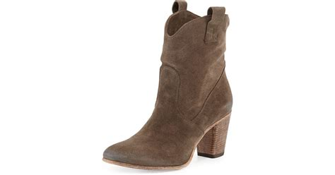 alberto fermani chiara slouchy suede western ankle boot in
