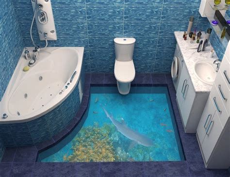 bathroom floor 3d art 3d floor art will make your home looks more artistic