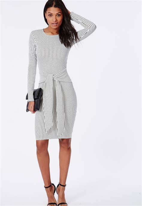 Sleeved Midi Dress tie waist sleeve midi dress white black stripe