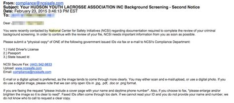 Email Background Check Coach Registration Hudson Youth Lacrosse Association