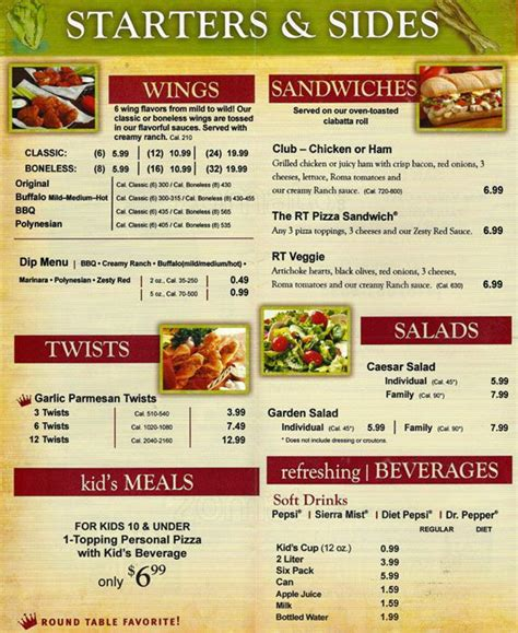 Table Menu by Table Pizza Menu Menu For Table Pizza Los