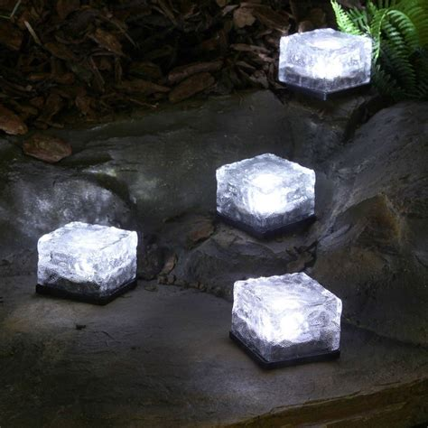 4 white solar garden glass brick lights
