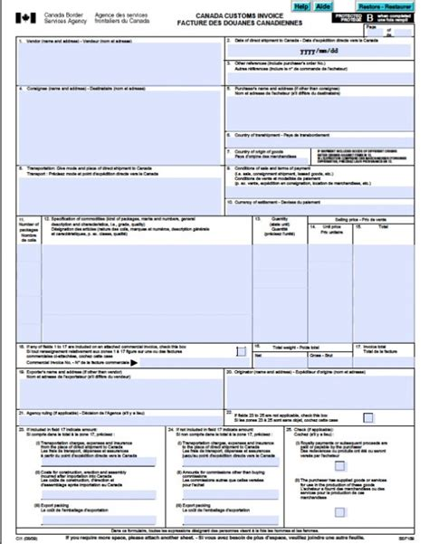 invoice template canada free canada customs commercial invoice template form ci1
