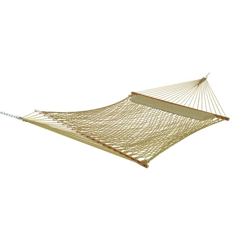 deluxe taupe polyester rope hammock with pillow dfohome