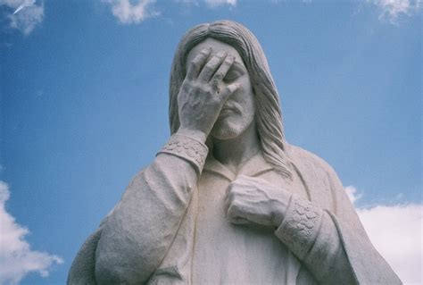 Laughing Jesus Meme - facepalm maybe double facepalm happy holly project
