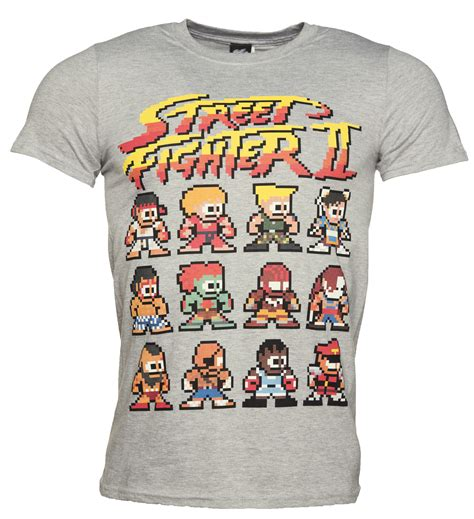 Fighter Shirt s grey marl retro fighter ii pixel characters t shirt