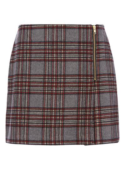 T2b Spotting Kilt Inspired Skirt by Sku Grey Check Kilt Grey