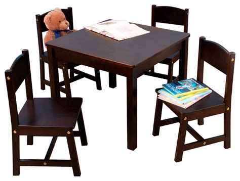 espresso childrens table and chairs farmhouse table and 4 chair set espresso transitional