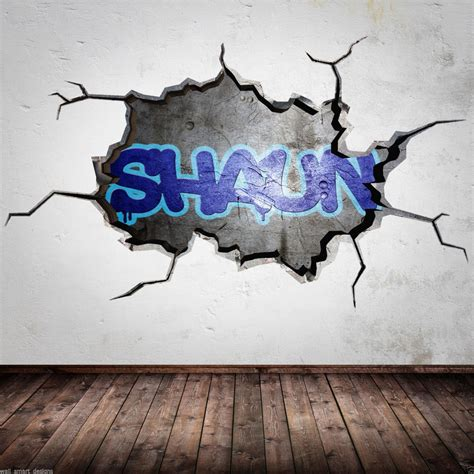 name on bedroom wall personalised graffiti name cracked 3d wall art sticker