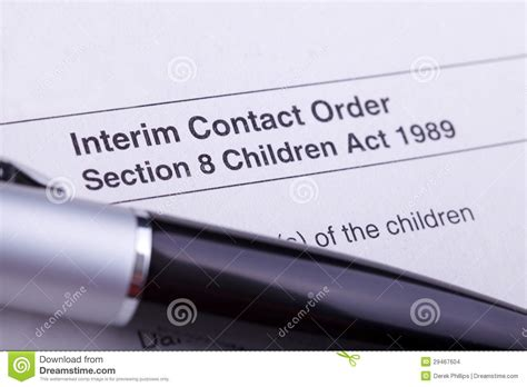 section 8 paperwork interim contact order paperwork stock images image 29467604