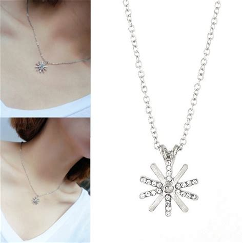 Rhinestone Snowflake Necklace rhinestone inlaid snowflake pendant korean fashion