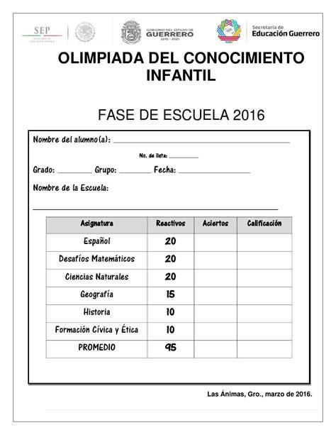 examenes de la olimpiada del conocimiento infantil 2016 sexto grado oci 2016 prueba esc damian carmona by israel epifanio