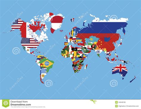 world map with countries no names world map colored in countries flags no names stock