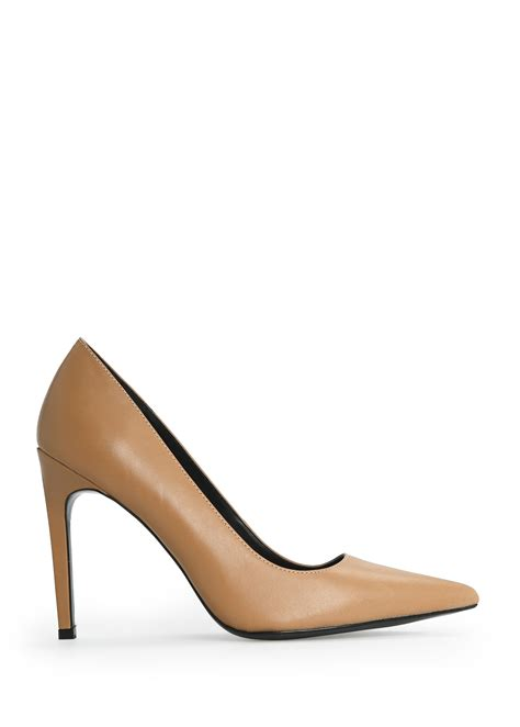 mango leather stiletto shoes in beige lyst