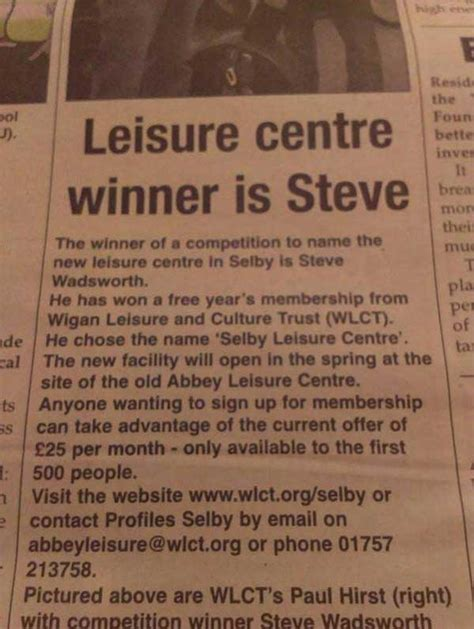 Man Wins Competition To Name New Leisure Centre In Selby | anorak shocks at the shelby leisure centre naming contest