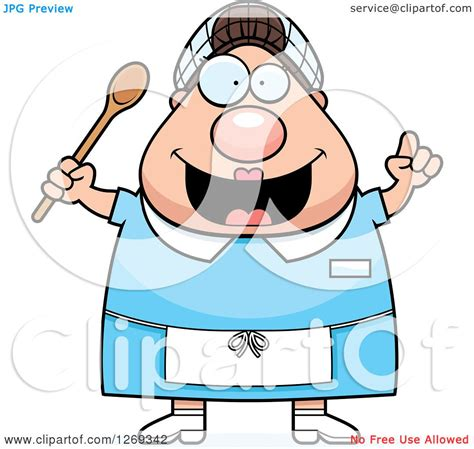 clipart of a cartoon chubby creative caucasian lunch lady