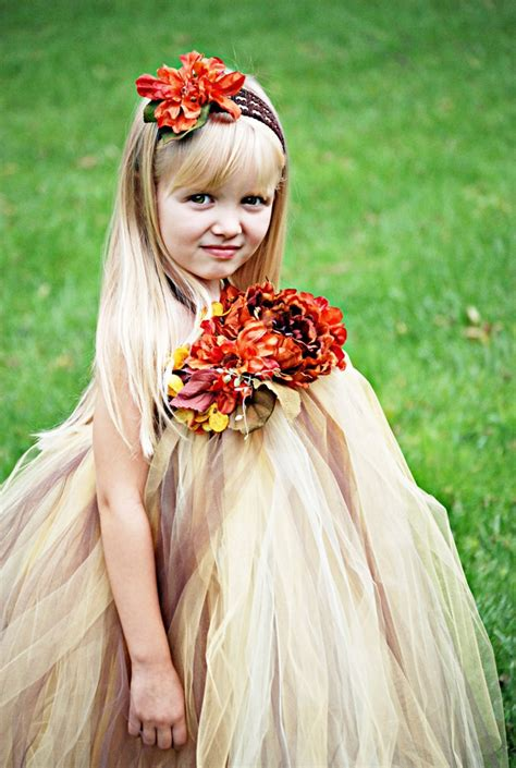 Wedding Dress Anak Tutu Blossom Merah fall princess tutu dress wedding flower birthday fall photo prop golds butter briges brown