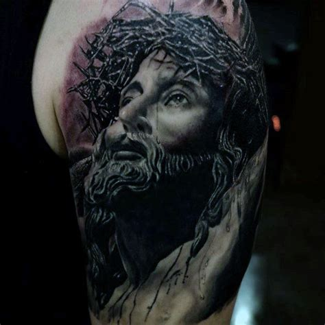 tattoo 3d jesus 60 jesus arm tattoo designs for men religious ink ideas