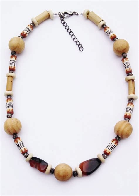 large wood brown tribal bead surfer necklace