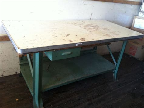 Metal Shop Table by Vintage Industrial Steel Work Table 73 X 35 Quot Heavy Duty