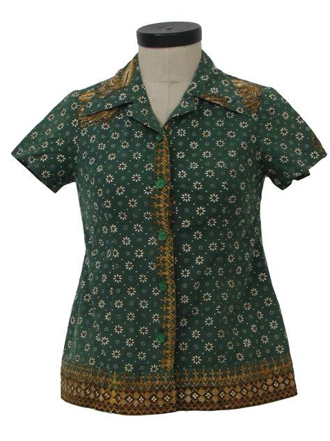 Blouse Batik Cantika Green White Yo no label 1970s vintage hippie shirt 70s no label womens