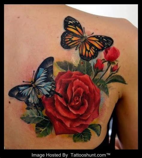 tattoo 3d rose on shoulder beautiful colored butterflies