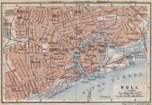 map of kingston upon hull kingston upon hull antique town city centre plan baedeker 1910 map