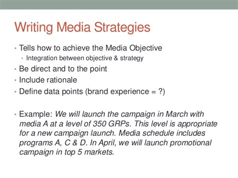strategy statement template media objectives and strategies 1 30 13