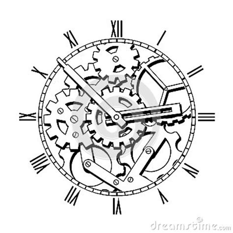 black and white mechanical clock stock photo image 39566772