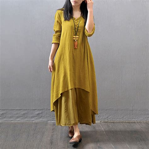 Mory Mory Tunic zanzea mori style v neck casual maxi dress