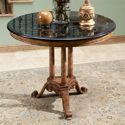 Design For Pedestal Side Table Ideas Furniture White Entryway Design Idea Filled Pedestal Table In The Center And Large