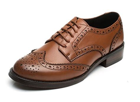 womens brown leather oxford shoes u lite brown brogues lace up wingtip leather flat oxfords