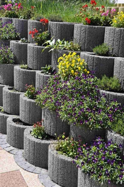 concrete blocks for garden walls retaining wall ideas concrete planters as a supporting