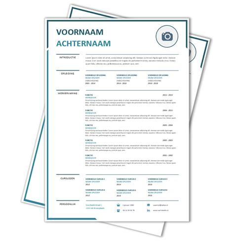 Modern Cv Sjabloon Word word cv sjabloon 32 cv voorbeelden nl