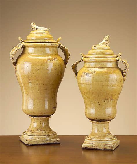 Mustard Vase Italian Small Mustard Color Vase With Lid Farmhouse