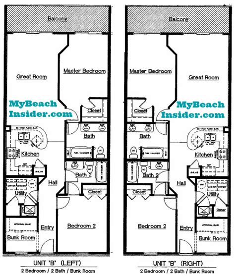 2 bedroom unit floor plans celadon beach resort condo floor plans panama city beach