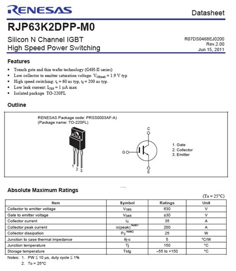 transistor rjh30e2 datasheet rjp63k2 igbt for dpd tv 630v 35a